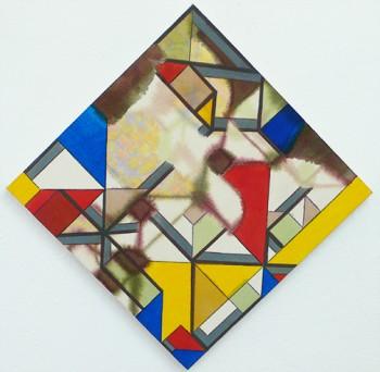Bea Winkler, o.T., Tusche und Buntstift auf Leinwand, 55 x 55 cm, 2012