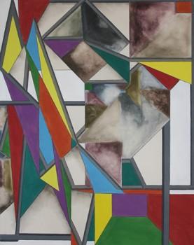 Bea Winkler, Cadmium, Tusche und Buntstift auf Leinwand, 2010