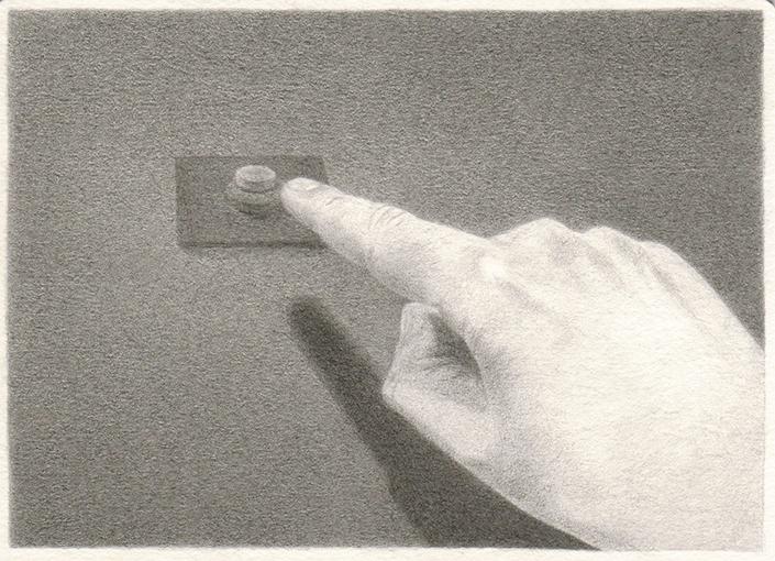 """Patricia Huck, (Knopfdruck) a.d. Reihe """"Ende kommt später"""", Bleistift a. Papier, 10,5 x 14,5 cm, 2012 / sold"""