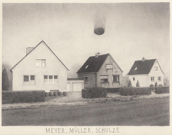 Patricia Huck, Meyer, Müller, Schulze, 18,7cm x 24cm, Bleistift auf Papier, 2014 / sold