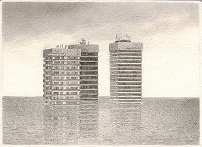 """Patricia Huck, a.d. Reihe """"Ende kommt später"""", Bleistift auf Papier, 10,5 x 14,5cm, 2012 / sold"""
