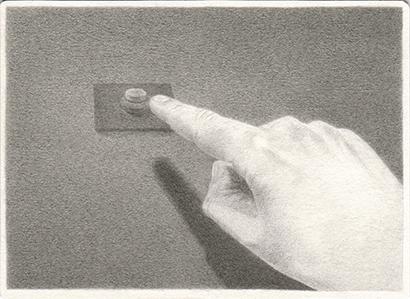 """Patricia Huck, ad. Reihe """"Ende kommt später"""", Bleistift auf Papier, 10,5×14,5cm, 2012"""