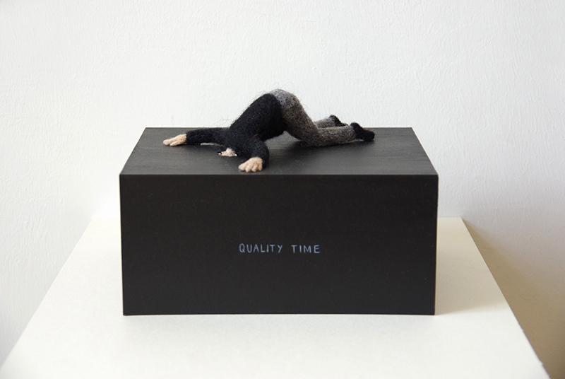 "Patricia Huck, a.d. Reihe ""Man muss nur wollen"", Quality Time, Filzarbeit auf Karton, 2015"