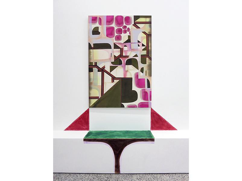 Bea Winkler, ODD Patterns, Kombination aus Wandmalerei und Tusche auf Leinwand, 2012
