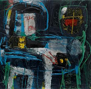 Menno Fahl, Figuren mit Tisch, Öl auf Leinwand, 80 x 90 cm, 2015