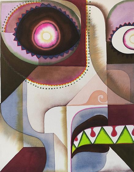 Bea Winkler, o.T., Tusche und Buntstift auf Leinwand, 100 x 70 cm, 2014