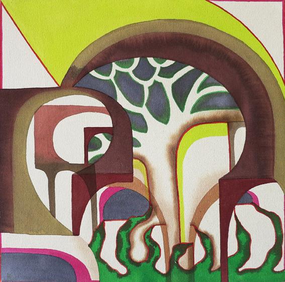 Bea Winkler, Tropicana, Tusche und Buntstift auf Leinwand, 50 x 50 cm, 2013